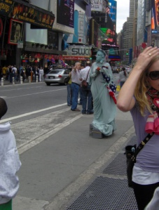 Lady Liberty. She (he? who knows?) is scary cause you can't see her (his? see my point?) face!