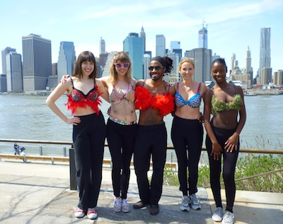 Here's the team in Brooklyn, wearing our bras, with downtown Manhattan in the background!